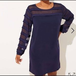LOFT Plus Striped Sheer Yoke Sleeve Dress Navy